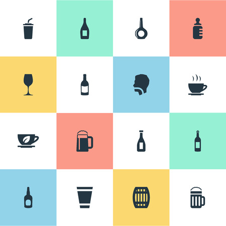 Vector Illustration Set Of Simple Beverage Icons. Elements Hydration, Plastic Mug, Ketchup And Other Synonyms Champagne, Beverage And Pub.