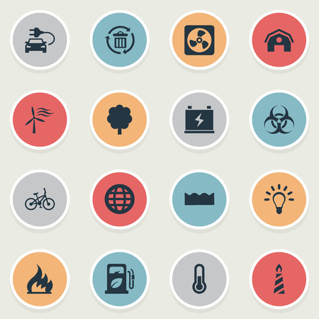 Vector Illustration Set Of Simple Green Icons. Elements Barn, Fire, Petrol And Other Synonyms Battery, Idea And Recycle.
