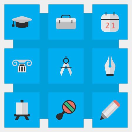 簡単な教育アイコンのベクター イラスト セット。要素のブリーフケース、測定の仕切り、イーゼル、他の同義語図面、ハンドバッグ、鉛筆。