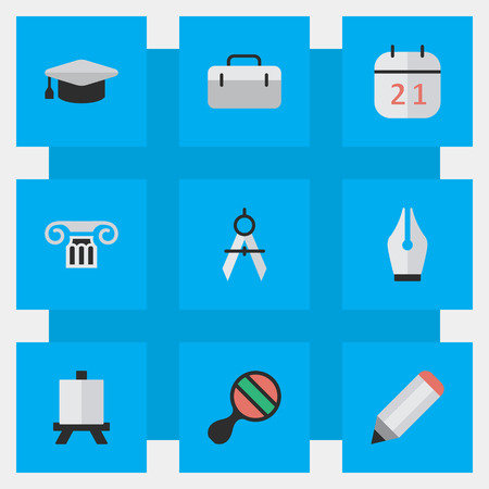 Vector Illustration Set Of Simple Education Icons. Elements Briefcase, Measurement Dividers, Easel And Other Synonyms Drawing, Handbag And Pencil. Illustration
