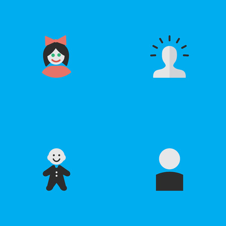 Vector Illustration Set Of Simple Avatar Icons. Elements Girl, Guy, Contour And Other Synonyms Section, Female And Guy.
