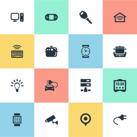 シンプルな Web アイコンのベクター イラスト セット。要素のキーパッド、電球、ワイヤレス接続、類義語の他のカメラ、サーバーおよびキーパッド