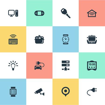 벡터 일러스트 레이 션 간단한 웹 아이콘의 집합입니다. 요소 키패드, 전구, 무선 연결 및 기타 동의어 카메라, 서버 및 키패드. 스톡 콘텐츠 - 83529285