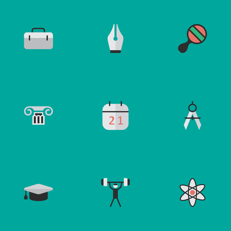Vector Illustration Set Of Simple Knowledge Icons. Elements Column, Measurement Dividers, Nib And Other Synonyms Ink, Nib And Almanac. Çizim
