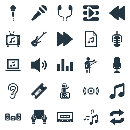 Vector Illustration Set Of Simple  Icons. Elements Microphone, Television, Tape And Other Synonyms Left, Melody And Monitor.