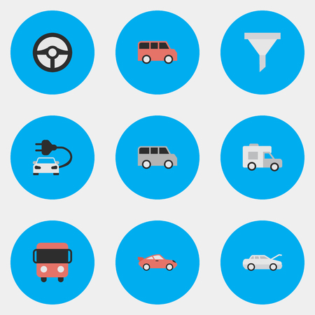 Vector Illustration Set Of Simple Shipping Icons. Elements Steering, Van, Family And Other Synonyms Coupe, Percolator And Delivery. Illustration