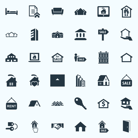 Vector Illustration Set Of Simple Property Icons. Elements Structure, Bed, Online Property And Other Synonyms Cabin, Greek And Lease. Ilustração