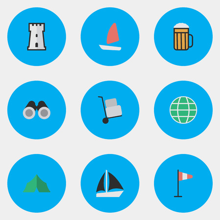 Vector Illustration Set Of Simple Travel Icons. Elements Schooner, Flag, Tower And Other Synonyms World, Globe And Camping.
