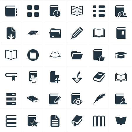 Vector Illustration Set Of Simple Education Icons. Elements Letter, List, Construction And Other Synonyms Pile, Notebook And Pointer.