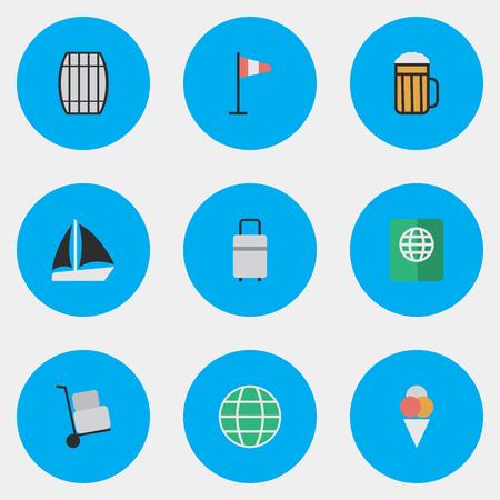 Vectorillustratiereeks Eenvoudige Vakantiepictogrammen. Elements Certificaat, Pub, Cask en andere synoniemen Sorbet, Pub en Cargo.