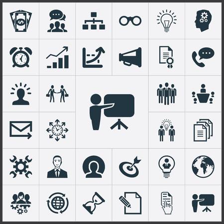Ilustración vectorial Conjunto de iconos de estrategia simple. Elementos de aumento, cabeza, lluvia de ideas y otra carta de sinónimos, efectivo y teléfono. Ilustración de vector