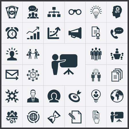 Vector Illustration Set Of Simple Strategy Icons. Elements Increase, Head, Brainstorming And Other Synonyms Letter, Cash And Phone. Çizim