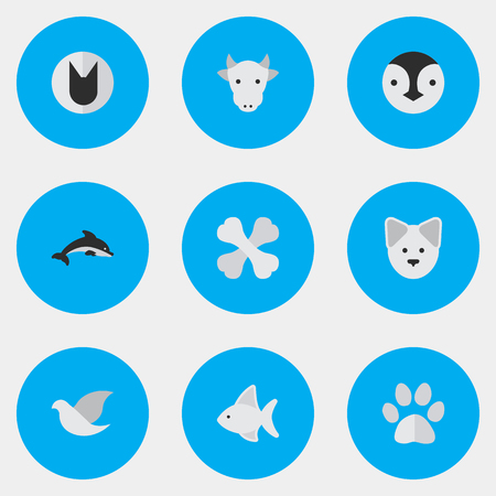 Vector Illustration Set Of Simple Wild Icons. Elements Flightless Bird, Foot, Wolf And Other Synonyms Footprint, Cute And Dove. Illustration