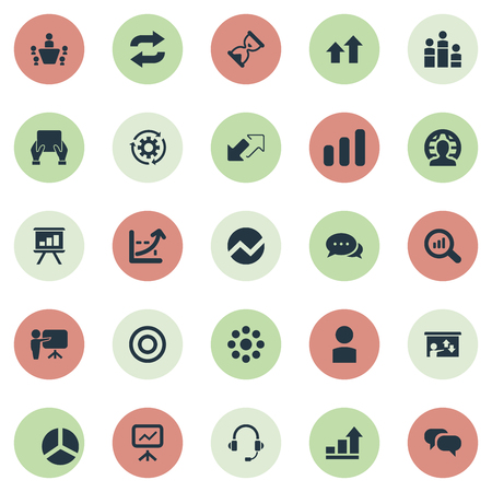 Vector Illustration Set Of Simple Training Icons. Elements Search , Sand Watch Synonyms Waiting, Tablet And Conversation.