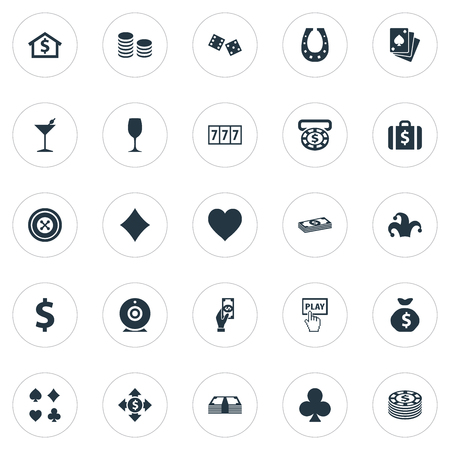 Vector Illustration Set Of Simple  Icons. Elements Core, Jester, Gambling Cube And Other Synonyms Play, Suits And Cross.