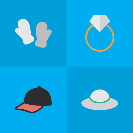 Vector Illustration Set Of Simple Instrument Icons. Elements Sport Hat, Female Cap, Mitten And Other Synonyms Jewelry, Mitten And Gloves.