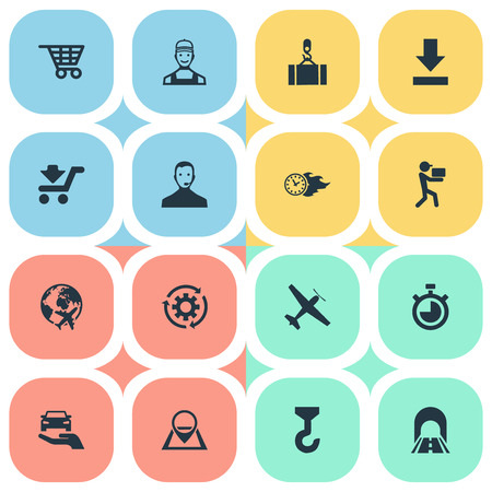 Vector Illustration Set Of Simple Engineering Icons. Elements Countdown, Workman, Flying And Other Synonyms Gear, Carrier And Road.