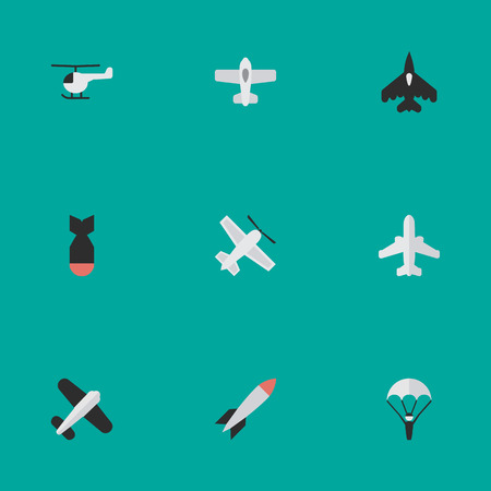 Vector Illustration Set Of Simple Airplane Icons. Elements Rocket, Plane, Copter And Other Synonyms Airliner, Craft And Airplane.