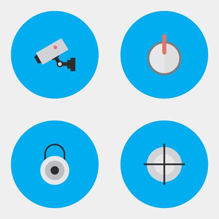 Illustrazione vettoriale Set of Simple Crime Icons. Elementi di sicurezza, cecchino, supervisione e altri sinonimi Sicurezza, macchina fotografica e obiettivo. Archivio Fotografico - 83529311