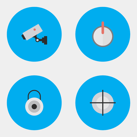 aegis: Vector Illustration Set Of Simple Crime Icons. Elements Safe, Sniper, Supervision And Other Synonyms Security, Camera And Goal. Illustration