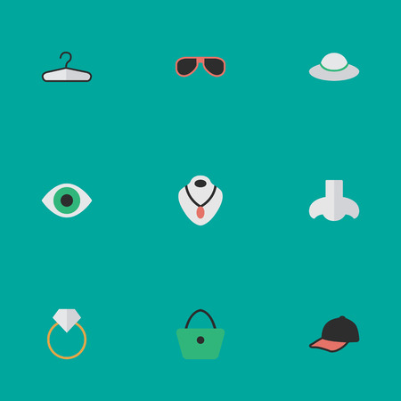 Vector Illustration Set Of Simple Instrument Icons. Elements Engagement, Sunglasses, Sport Hat And Other Synonyms Necklace, Choker And Vision.