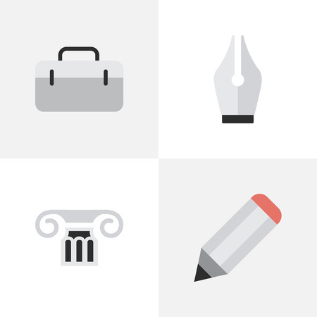 Vector Illustration Set Of Simple Education Icons. Elements Briefcase, Column, Nib And Other Synonyms Pencil, Pen And Nib.