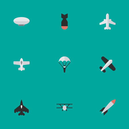 Vector Illustration Set Of Simple Plane Icons. Elements Bomb, Aviation, Flying Vehicle And Other Synonyms Airliner, Plane And Craft. Illustration