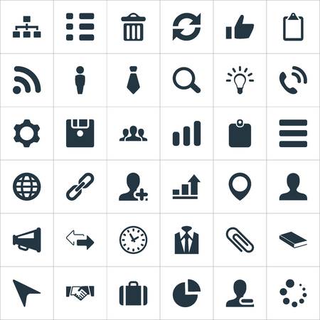 Vector Illustration Set Of Simple Conference Icons. Elements Note Pad, Growth Chart, Textbook And Other Synonyms Contact, Garbage And Suitcase. Illustration