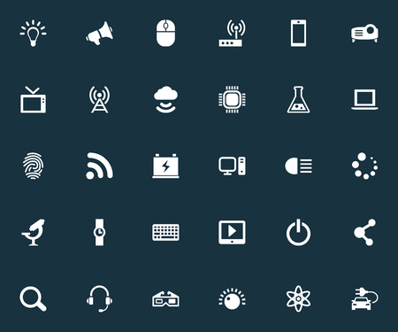 Vector Illustration Set Of Simple Hitech Icons. Elements Atom, Microbiology, Magnifier And Other Synonyms Knob, Car And Network. Illustration