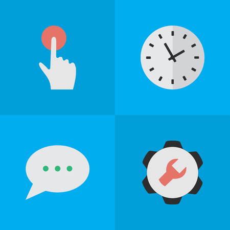 Vector Illustration Set Of Simple Interface Icons. Elements Switch Knob, Time, Settings And Other Synonyms Options, Knob And Red.