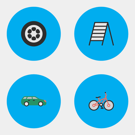 Vector Illustration Set Of Simple Transportation Icons. Elements Recycle, Sedan, Stairs And Other Synonyms Wheel, Tire And Auto. Illustration