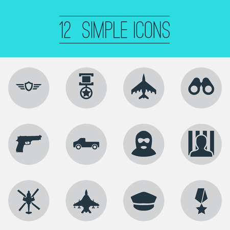 Vector Illustration Set Of Simple War Icons. Elements Terrorist, Grade, Hat And Other Synonyms Criminal, Battle And Pickup.