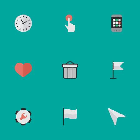 Vector Illustration Set d'icônes d'interface simple. Coeur d'éléments, temps, bouton de commutateur et d'autres synonymes Cursor, Bin et Trash. Banque d'images - 83529323