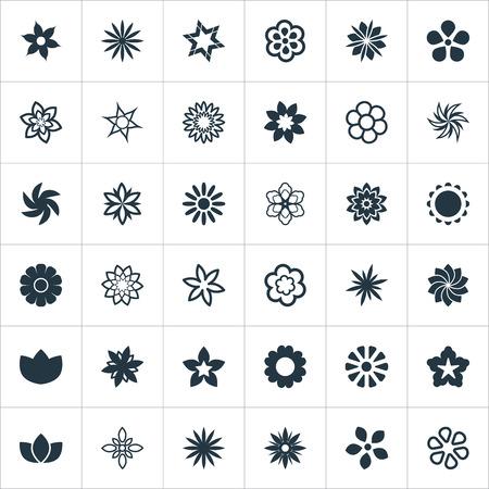 単純な花のアイコンのベクトル イラスト セット。要素牡丹、アネモネ、装飾と他類義語水のユリ、ライラック、ひまわり。