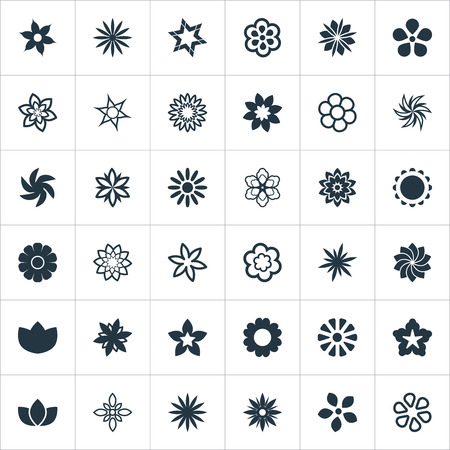 Vector Illustration Set Of Simple Flower Icons. Elements Peonies, Anemone, Decoration And Other Synonyms Water Lily, Lilac And Sunflower.