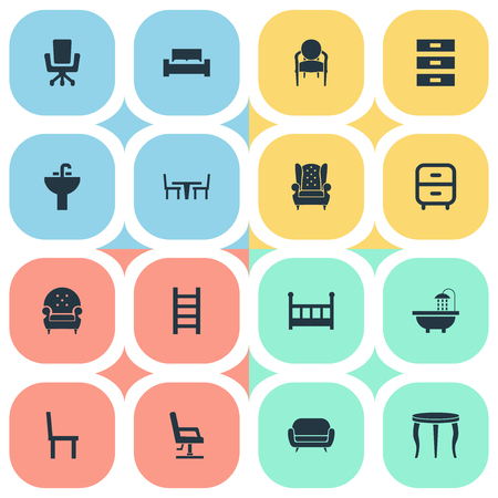 Vector Illustration Set Of Simple Furnishings Icons. Elements Mattress, Bedroom, Stairway And Other Synonyms Bedstead, Stool And Stand.