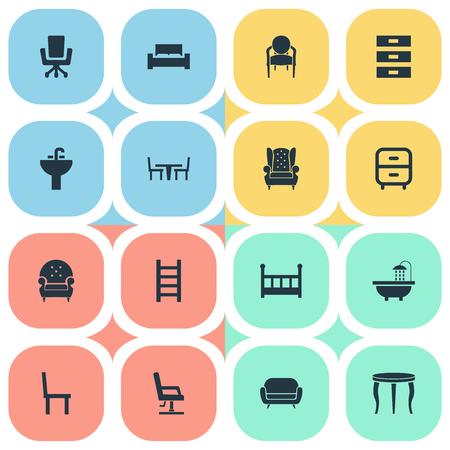 Vector illustratie Set van eenvoudige meubels pictogrammen. Elementen matras, slaapkamer, trap en andere synoniemen Bedstede, kruk en standaard.