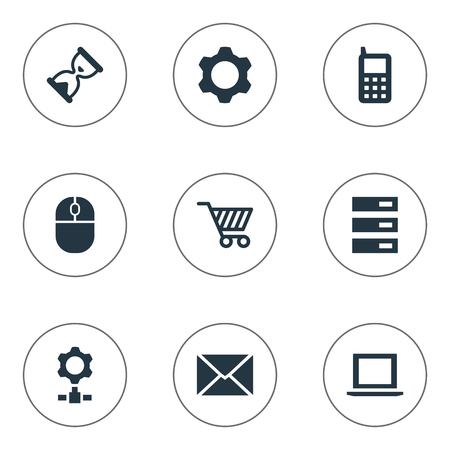 Vector Illustration Set Of Simple Technology Icons. Elements Gear, Web Trading, Laptop And Other Synonyms Laptop, Shopping And Letter.