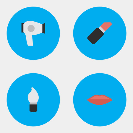 Vector Illustration Set Of Simple Beauty Icons. Elements Pomade, Scrub, Lips And Other Synonyms Cosmetic, Lips And Drying.