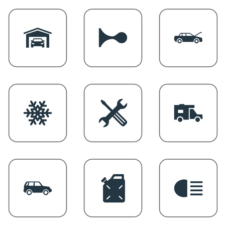 Vector Illustration Set Of Simple Car Icons. Elements Instrument, Siren, Snowflake And Other Synonyms Truck, Sign And Siren.