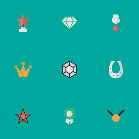 Vector Illustration Set Of Simple Champ Icons. Elements Gemstone, Brilliant, Corona And Other Synonyms Horseshoe, Premium And Brilliant. Illustration