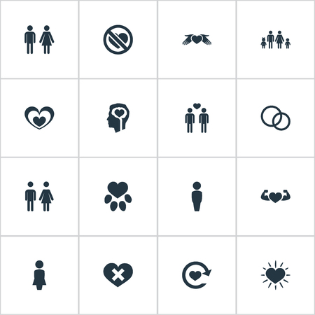 Vector Illustration Set Of Simple Feelings Icons. Elements Amour, Pair, Refresh And Other Synonyms Mother, Parent And Animal. 向量圖像