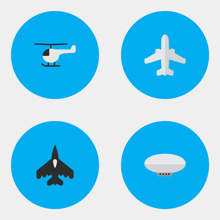 Vector Illustration Set Of Simple Plane Icons. Elements Balloons, Copter, Flying Vehicle And Other Synonyms Airplane, Copter And Airship.