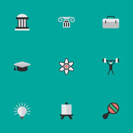 Vector Illustration Set Of Simple Education Icons. Elements Molecule, Racket, Easel And Other Synonyms Weight, University And Bodybuilding.