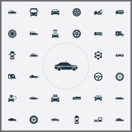 Vector Illustration Set Of Simple Transport Icons. Elements Old Style, Rotation, Shipment And Other Synonyms Hands, Hatchback And Bus. Illustration