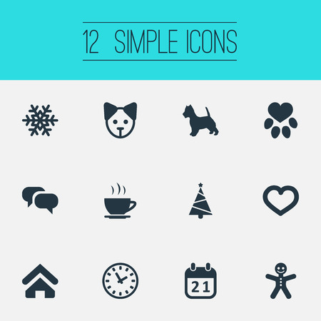 Vector Illustration Set Of Simple House Icons. Elements Fir, Hot Drink, Winter And Other Synonyms Date, Tea And Snow. Illustration