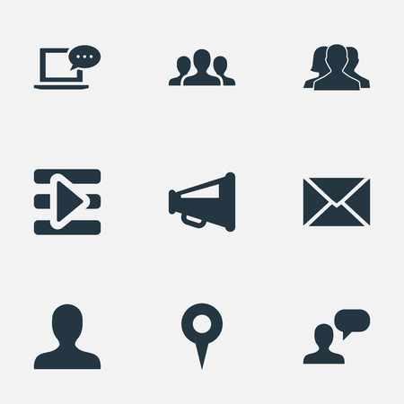 Vector Illustration Set Of Simple Media Icons. Elements New Mail, Point, Team And Other Synonyms Network, Internet And Inbox.
