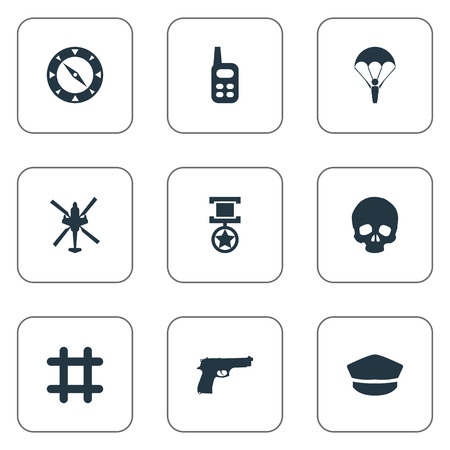 Vector Illustration Set Of Simple Combat Icons. Elements Poison, Compass, Hat And Other Synonyms Award, Radio And Cap.