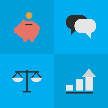 Vector Illustration Set Of Simple Business Icons. Elements Justice, Talking, Growing And Other Synonyms Diagram, Money And Humans.