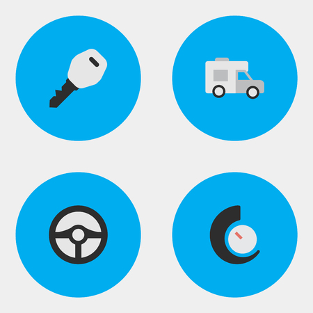 move controller: Vector Illustration Set Of Simple Transportation Icons. Elements Steering, Speedometer, Open And Other Synonyms Speedometer, Key And Rudder.